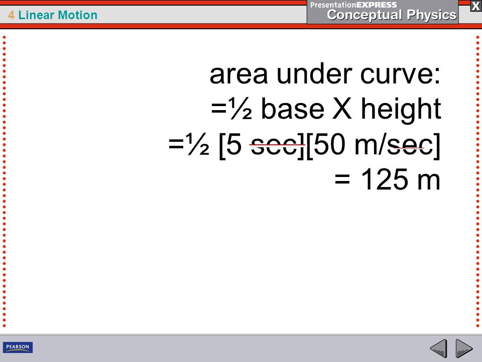 area under curve: =½ base X height =½ [5 sec][50 m/sec] = 125 m
